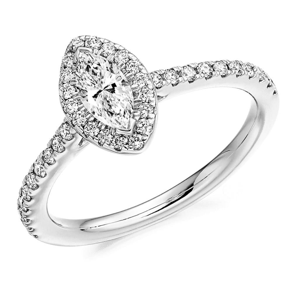 Platinum Engagement Rings Sale Uk: Berry's Platinum Set Marquise Cut Diamond & Pave Set