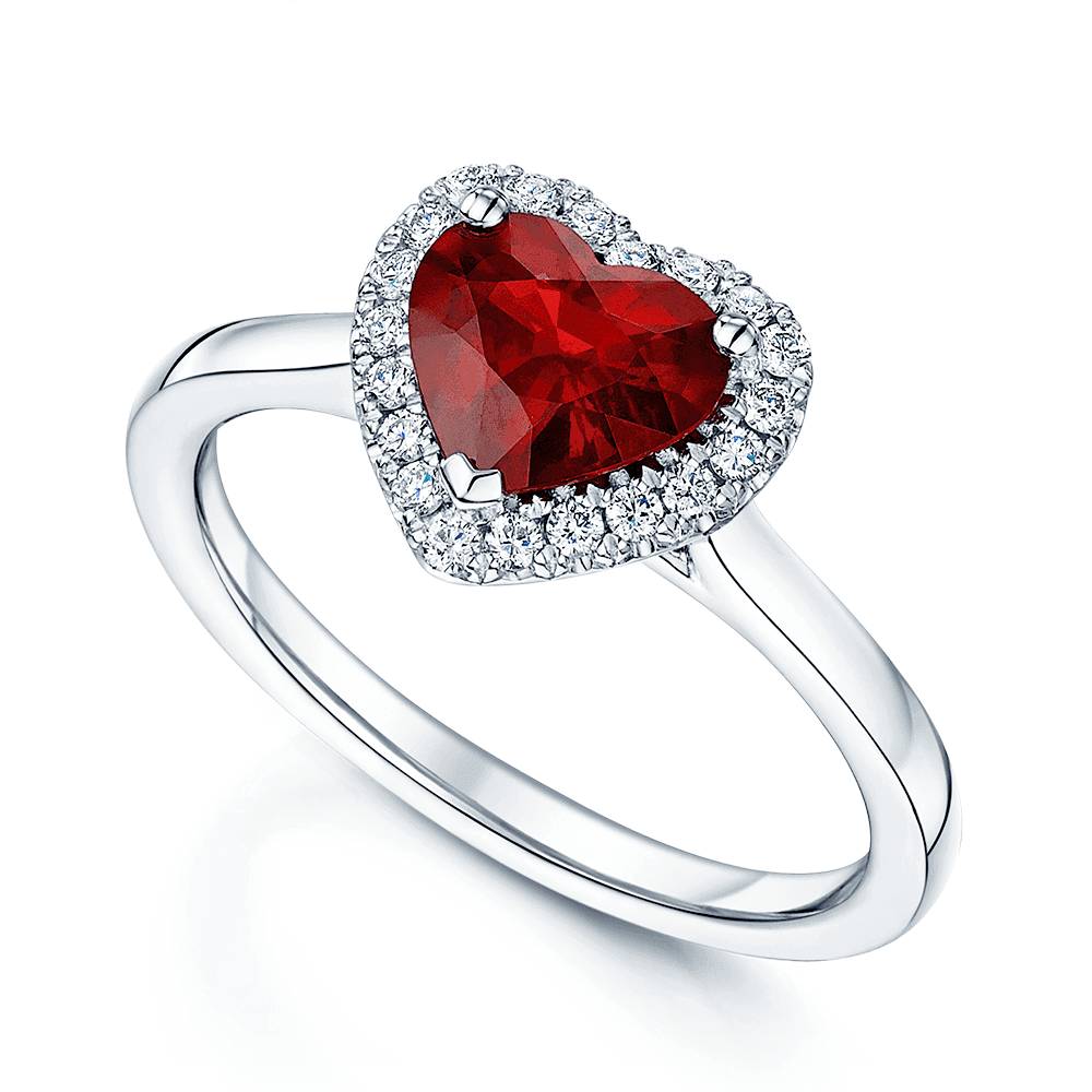 Platinum Heart Cut Ruby Solitaire And A Diamond Halo Ring