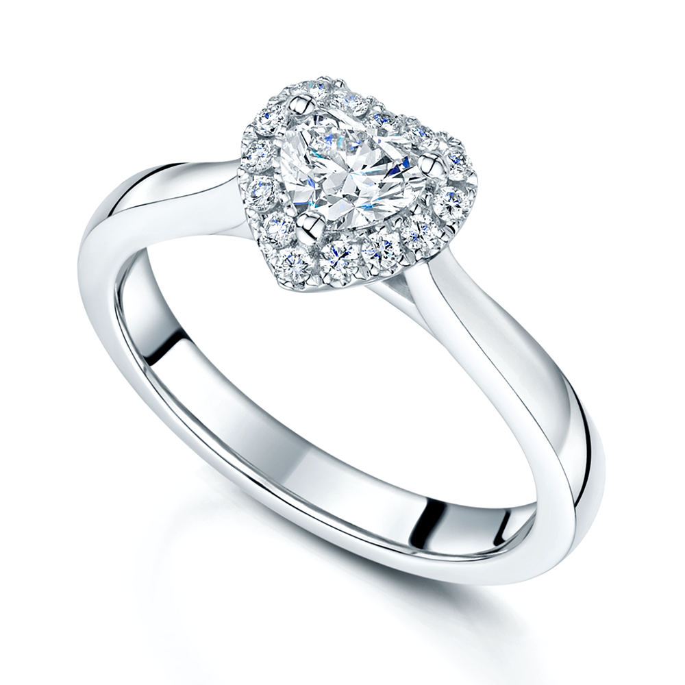 engagement gold heart with in a double halo ring cut shank covered white pave diamond shape