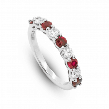 Platinum Nine Stone Claw Set Ruby & Diamond Half Eternity Ring