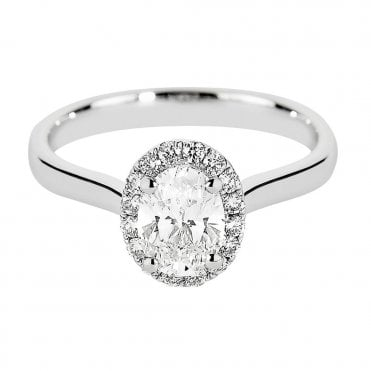 Platinum Oval Cut Diamond & Pave Surround Engagement Ring GIA Certified