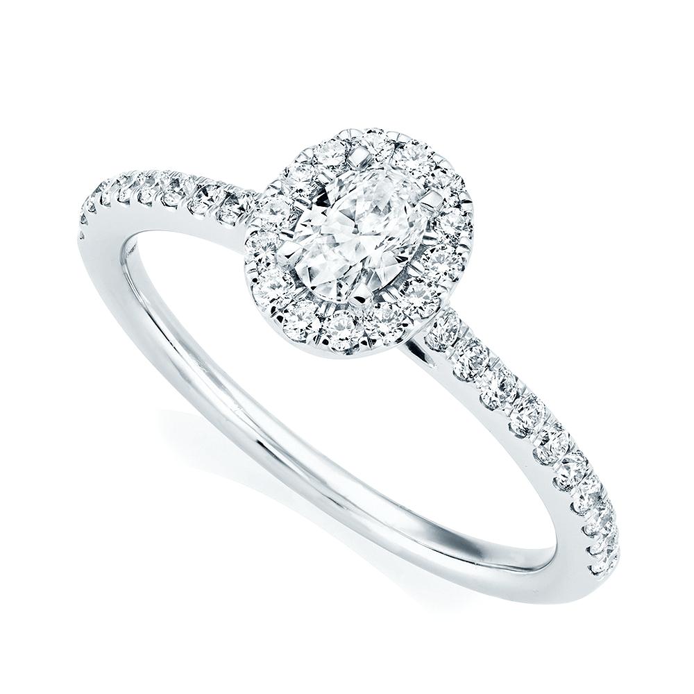 Platinum Oval Diamond & Surround Engagement Ring At Berry