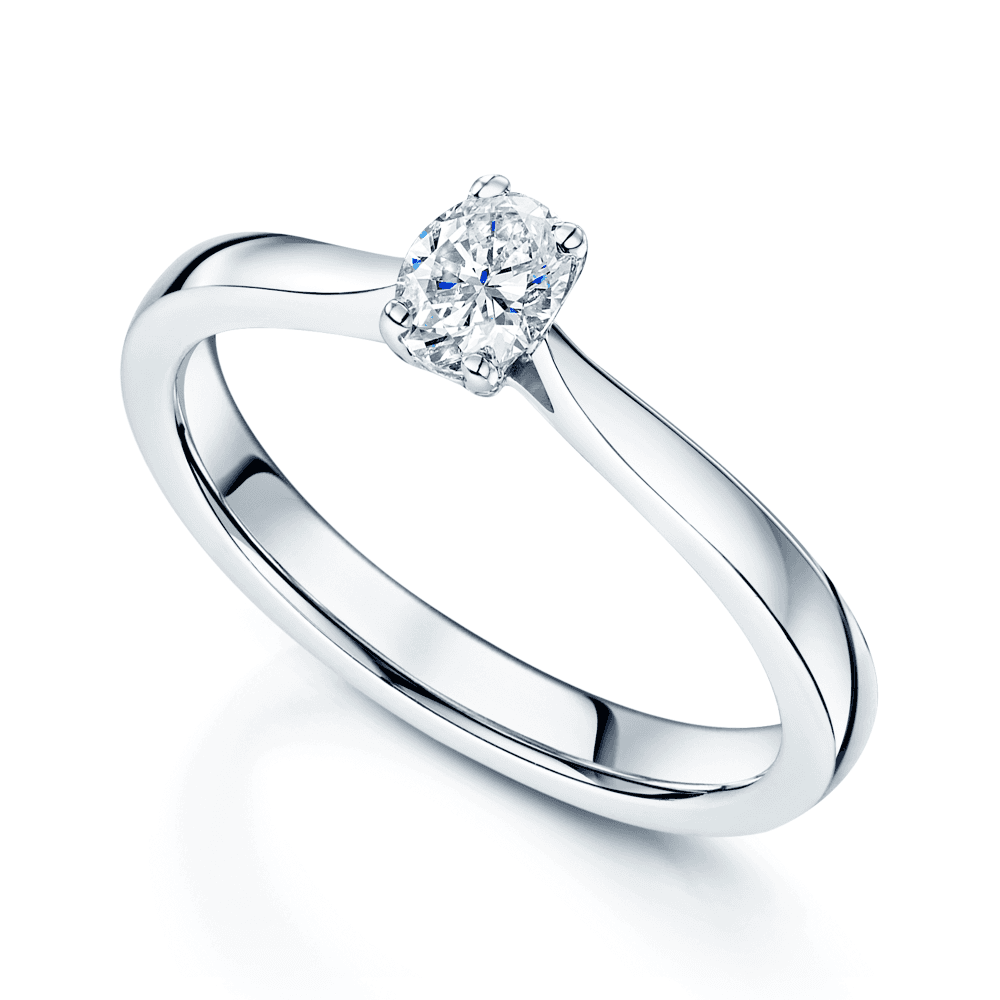 9ac3bbced Platinum Oval Cut Single Stone Diamond Ring With A Four Claw Setting