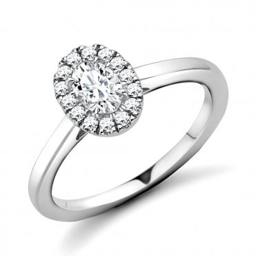 Berry's Platinum Oval Diamond & Surround Engagement Ring