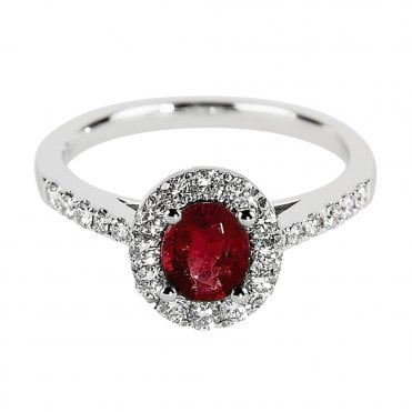Platinum Oval Ruby and Diamond Cluster Ring