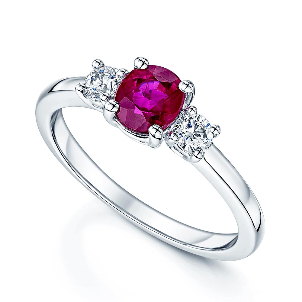 Ruby Wedding Rings.Platinum Oval Ruby Diamond Trilogy Ring