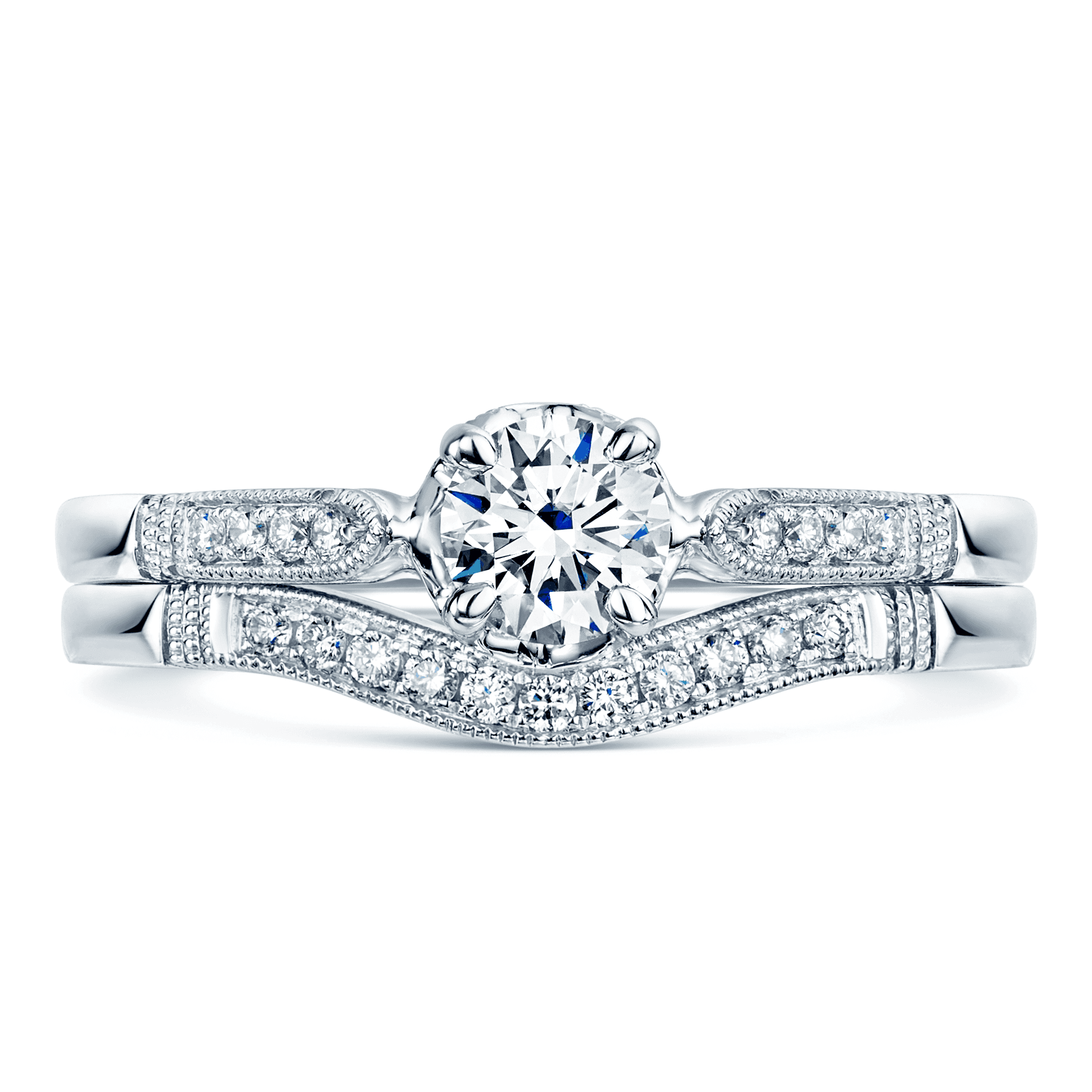 Platinum Pave Set Diamond Bridal Engagement And Wedding Ring Set