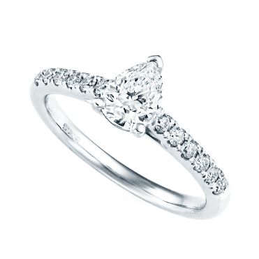 Platinum Pear Cut Single Stone And Diamond Shoulders Ring