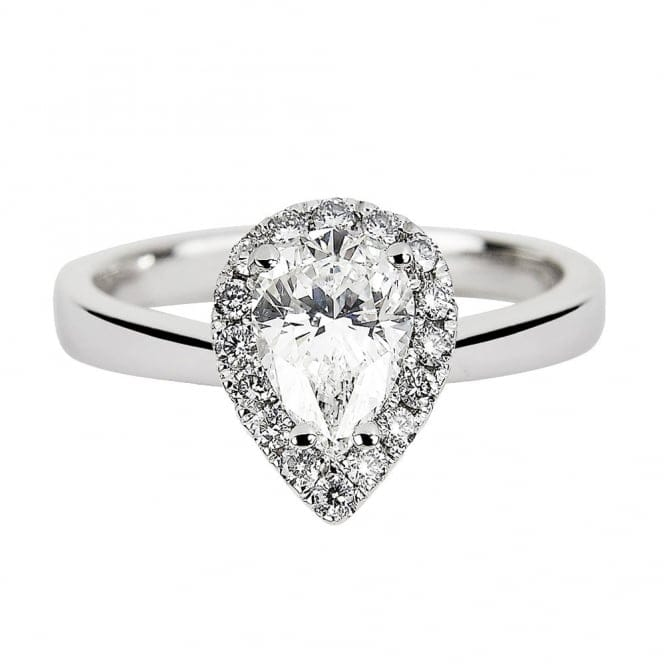 Platinum Certified Pear Cut Diamond & Diamond Surround