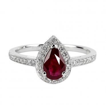 Platinum Pear Shaped Ruby and Diamond Cluster Ring