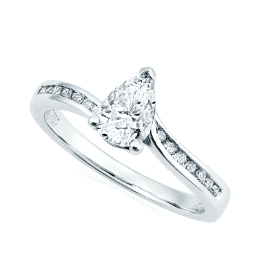 Platinum Pear Single Stone and Twist Diamond Shoulders Ring
