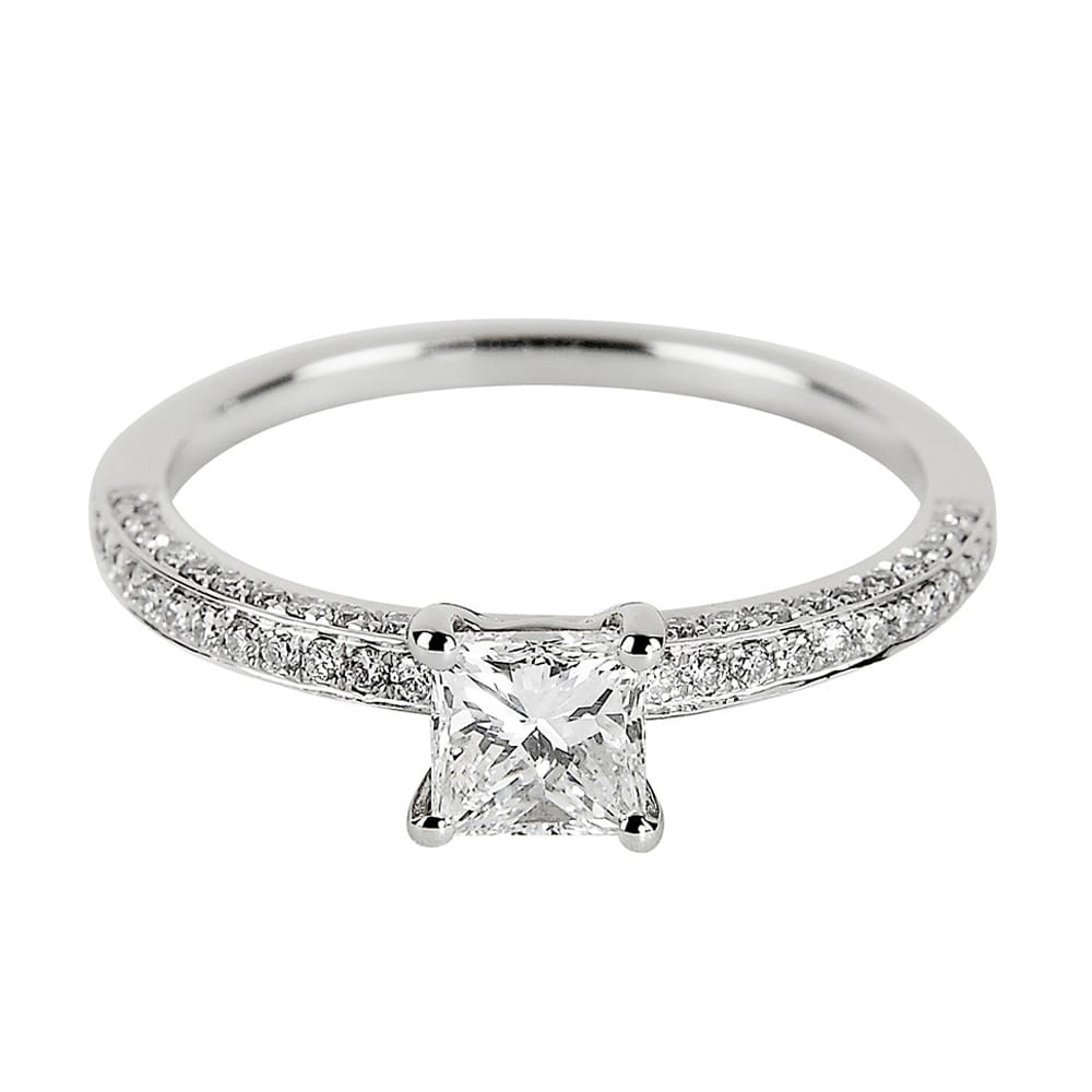Platinum Engagement Rings Sale Uk: Platinum Petite Princess & Brilliant Cut Diamond Set