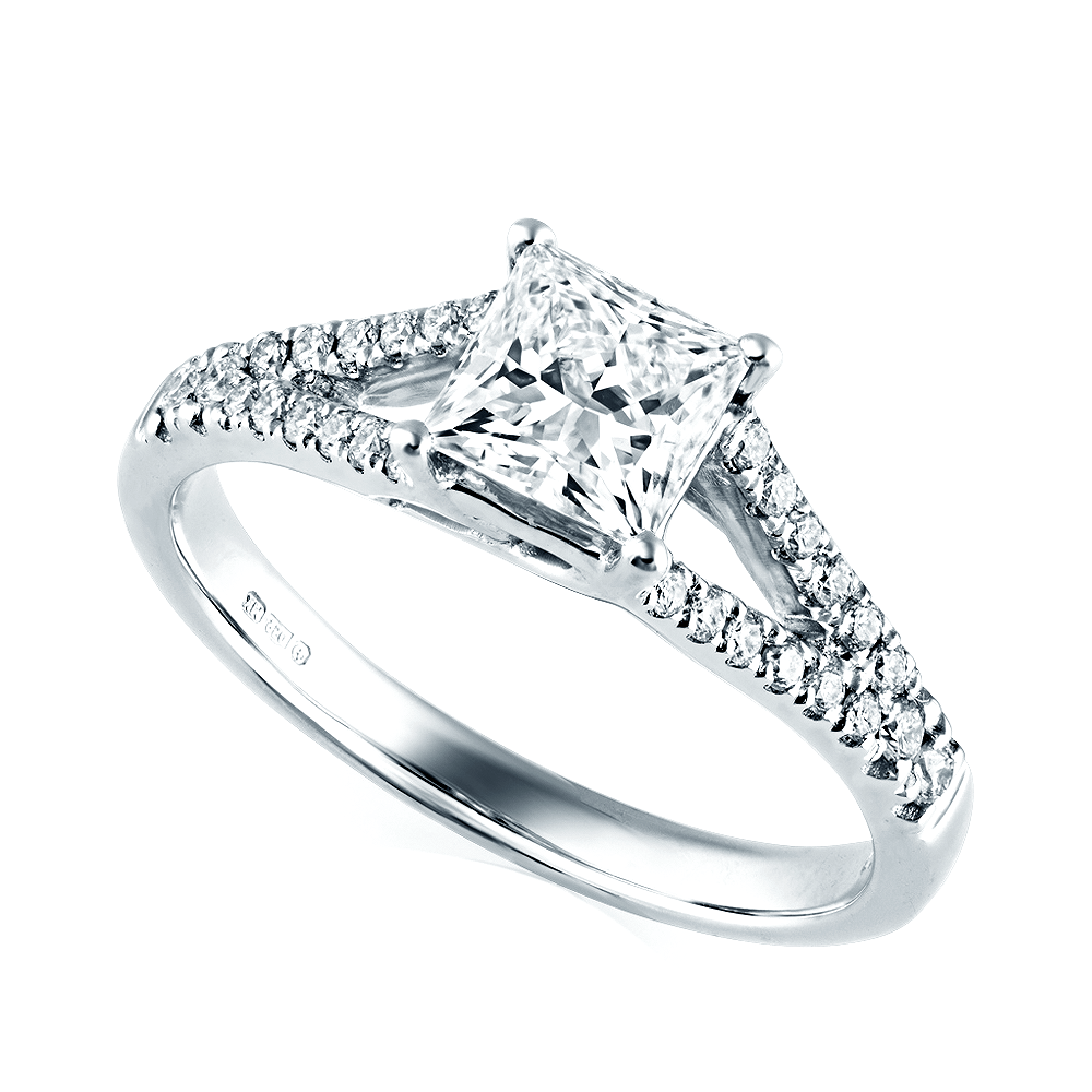 rings diamond baguette arthur claw emerald cut engagement products white split cluster kaplan gold halo shank ring