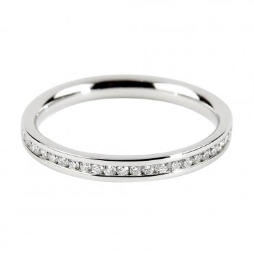 Berry's Platinum Round Brilliant Cut Channel Set Half Eternity Ring 0.15ct