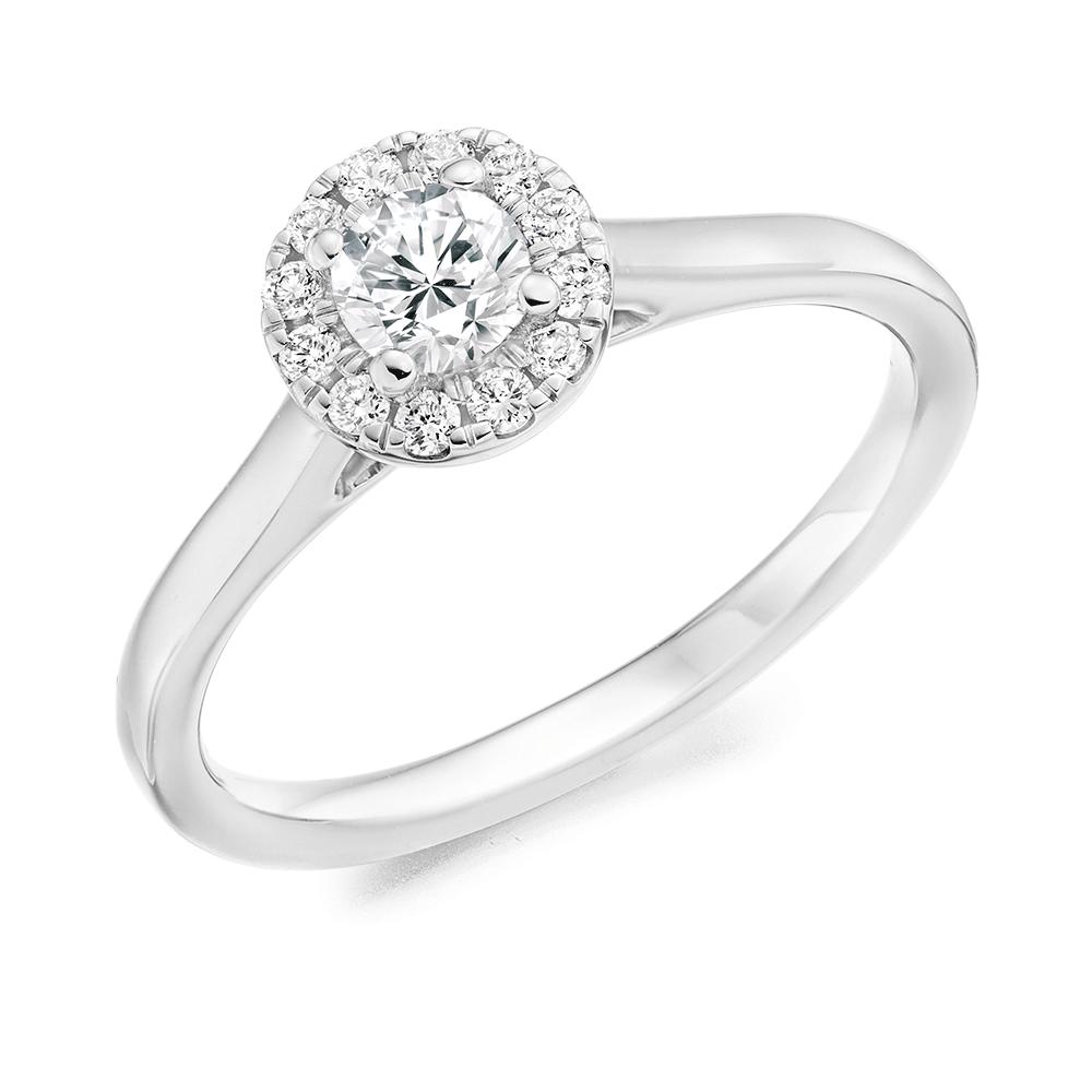 d216c7d398c28 Platinum Round Brilliant Cut Diamond Halo Cluster Ring