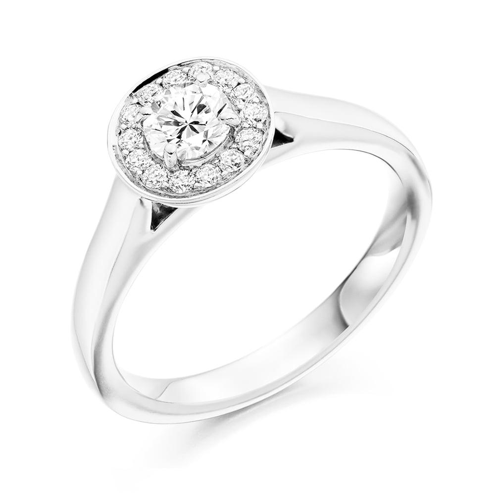 Platinum Engagement Rings Sale Uk: Berry's Platinum Round Brilliant Cut Diamond Halo