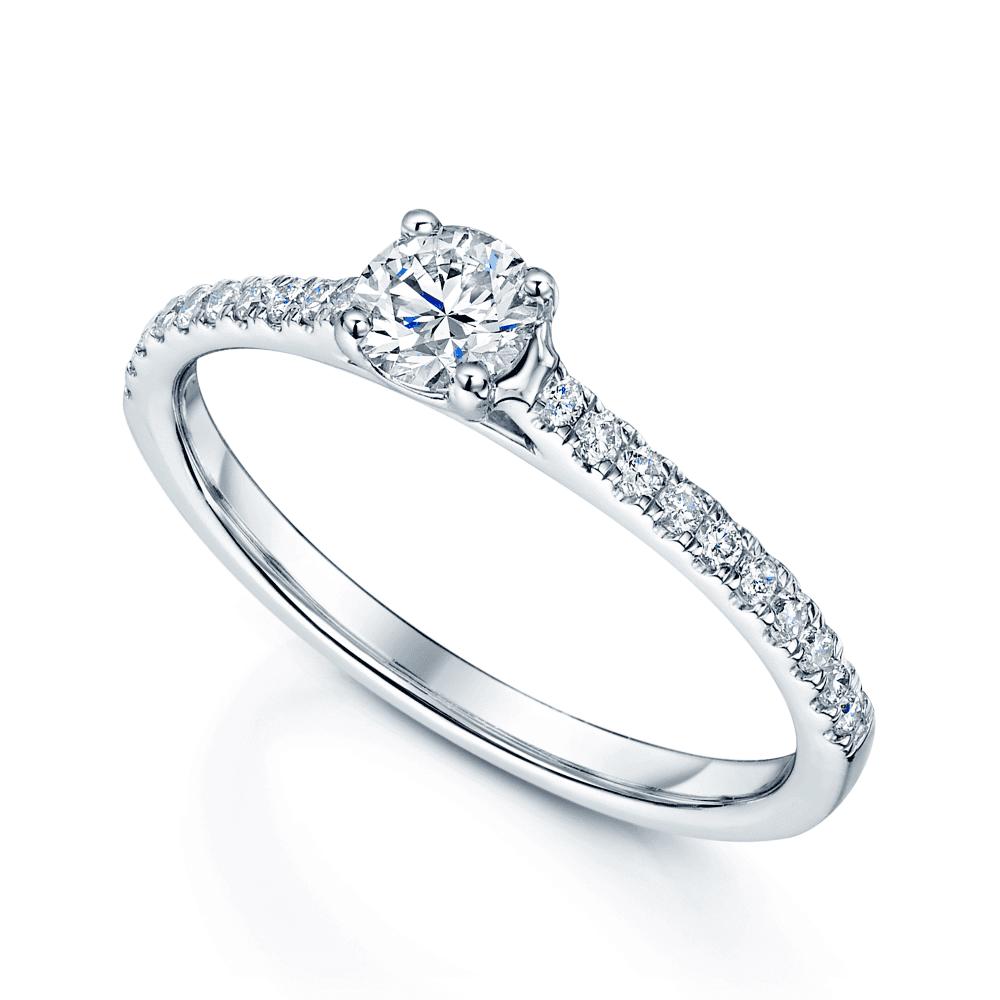6bb74595827fc Platinum Round Brilliant Cut Diamond Solitaire Ring With Claw Set Diamond  Shoulders