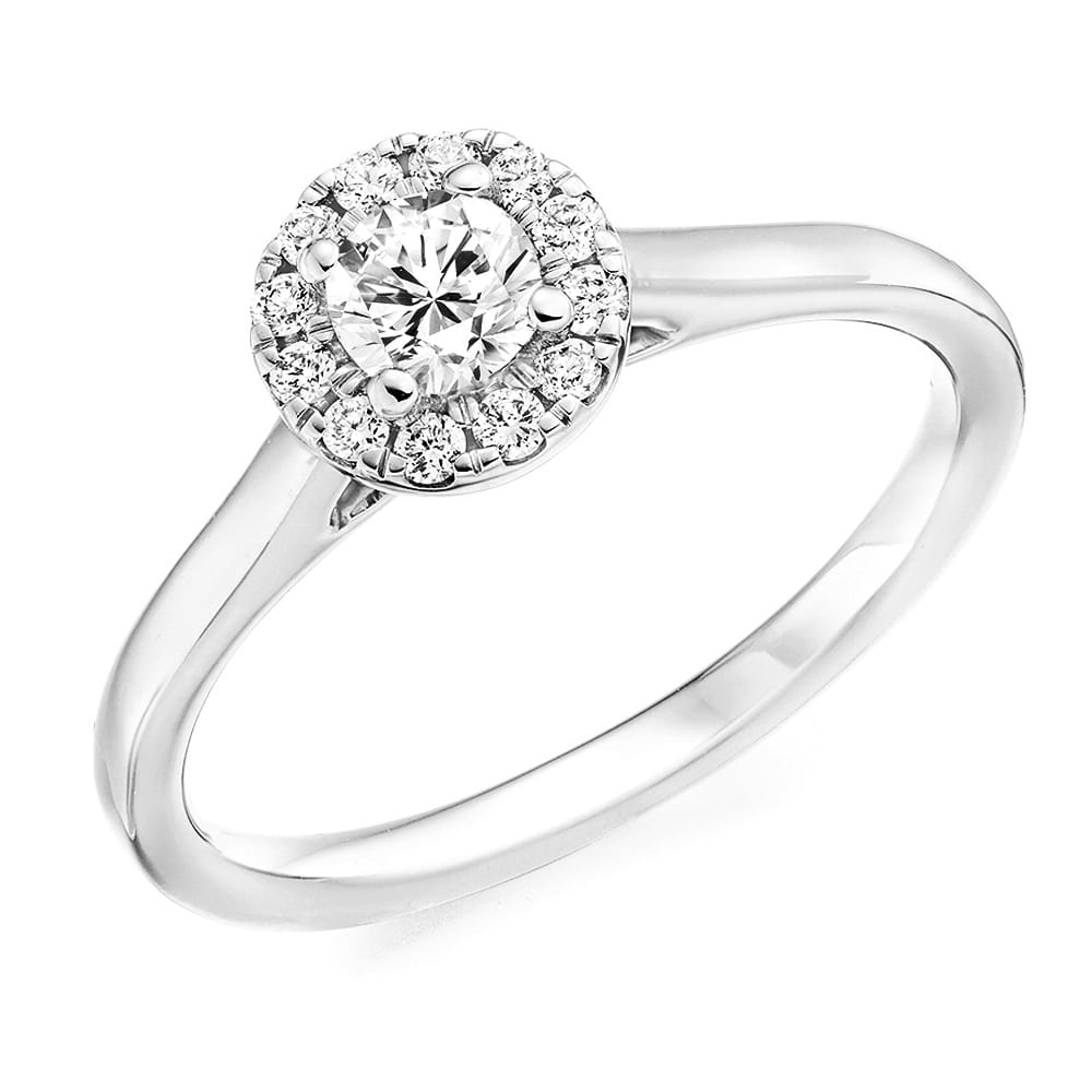 Platinum Engagement Rings Sale Uk: Berry's Brilliant Cut & Cluster Surround Diamond
