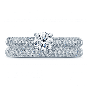 20115c212 Platinum Round Brilliant Diamond Engagement Ring with Pave Shoulders And  Pave Half Diamond Wedding Ring Bridal
