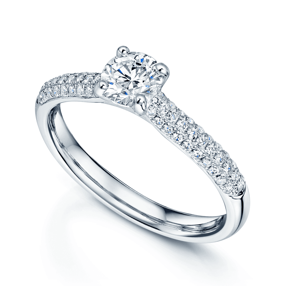Platinum Round Brilliant Diamond Engagement Ring With Pave Shoulders And Pave Half Diamond Wedding Ring Bridal