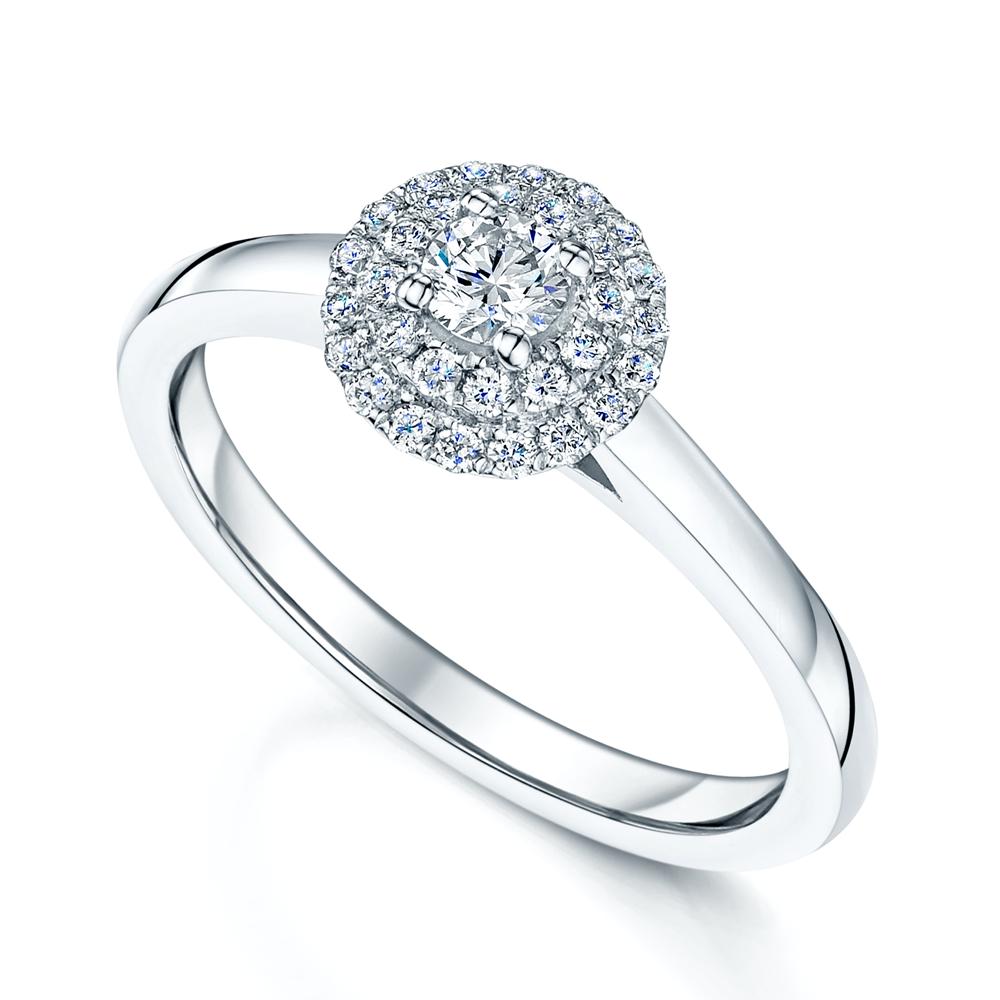 Platinum Engagement Rings Sale Uk: Platinum Round Brilliant Double Halo Diamond Engagement Ring