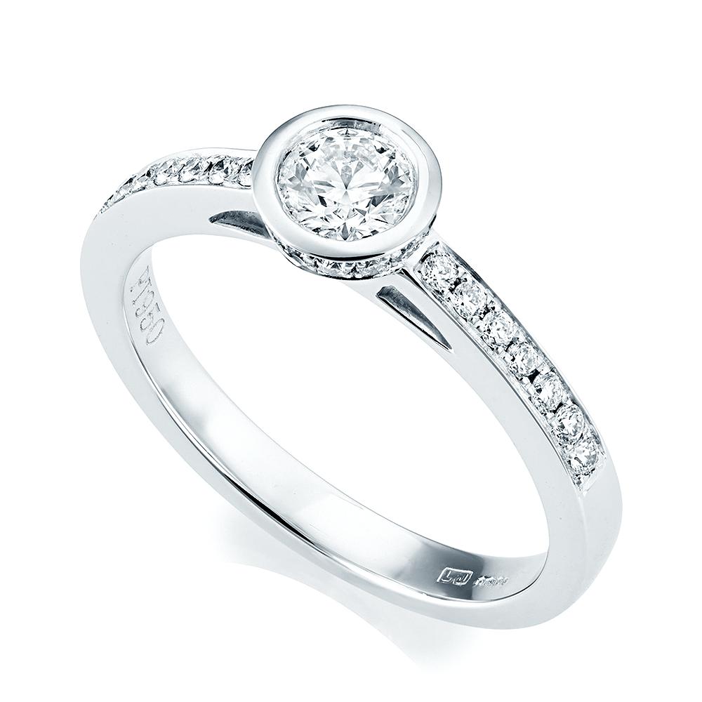 Platinum Engagement Rings Sale Uk: Berry's Platinum Rub Over Design Diamond Engagement Ring