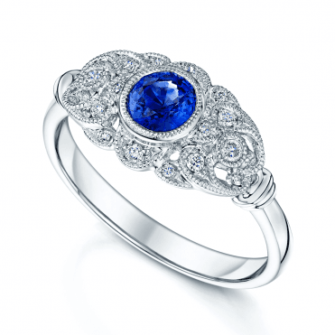 Platinum Sapphire And Diamond Art Deco Style Ring