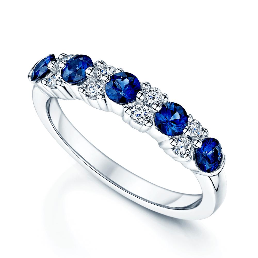 Platinum Sapphire Amp Diamond Half Eternity Ring