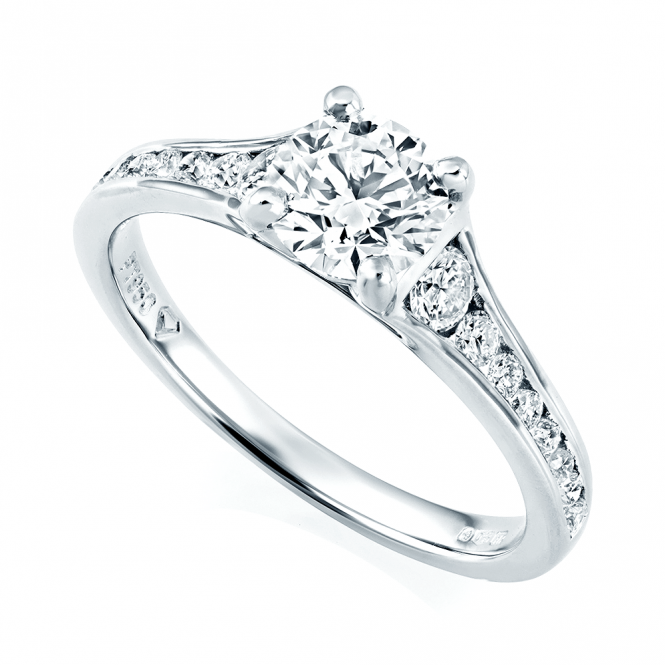 GIA Certified Platinum Set Diamond Engagement Ring From