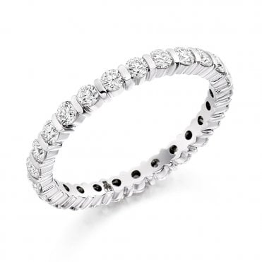 Platinum Set Brilliant Cut Diamond Full Eternity Ring