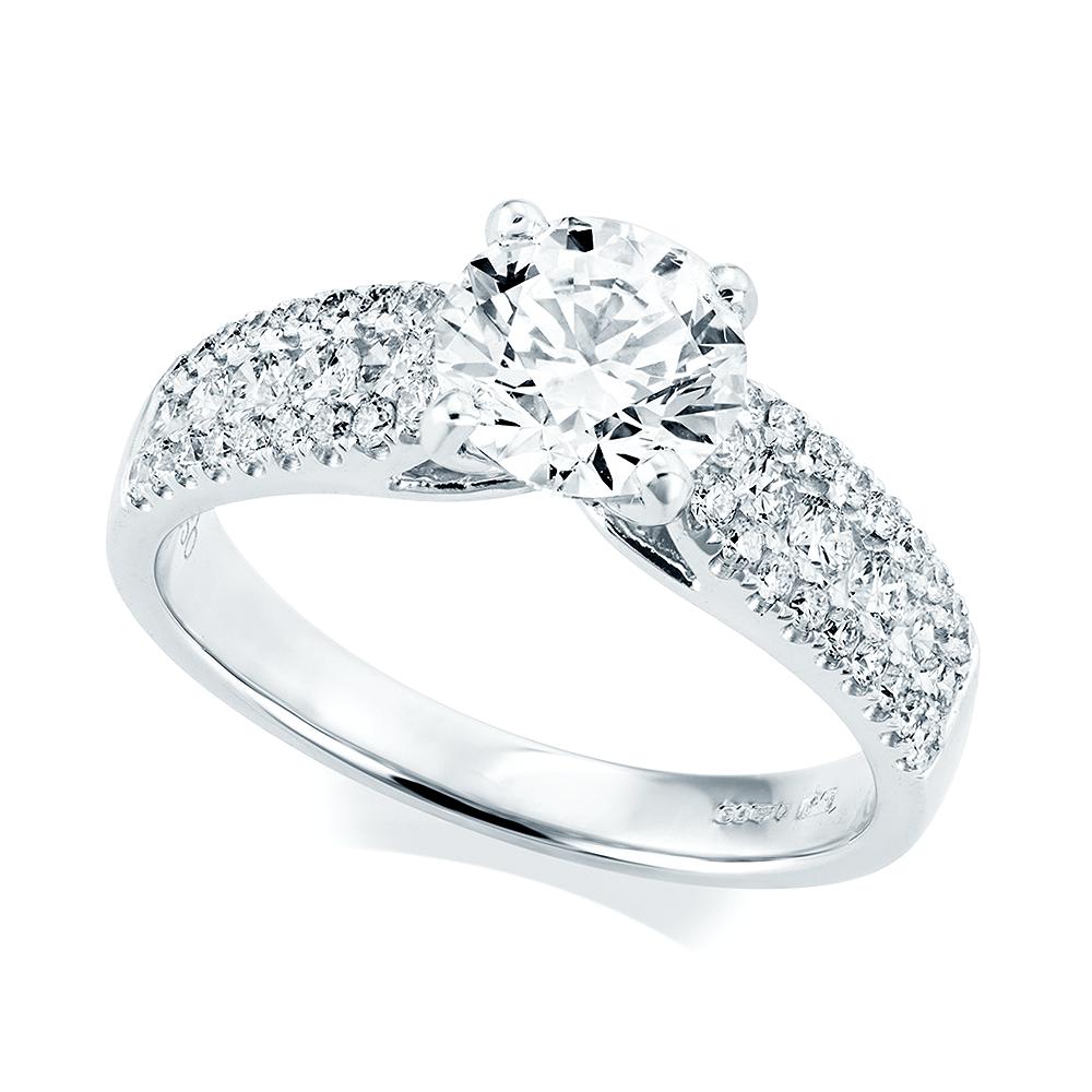 Platinum Engagement Rings Sale Uk: Platinum Brilliant Cut Diamond & Diamond Shoulders Ring