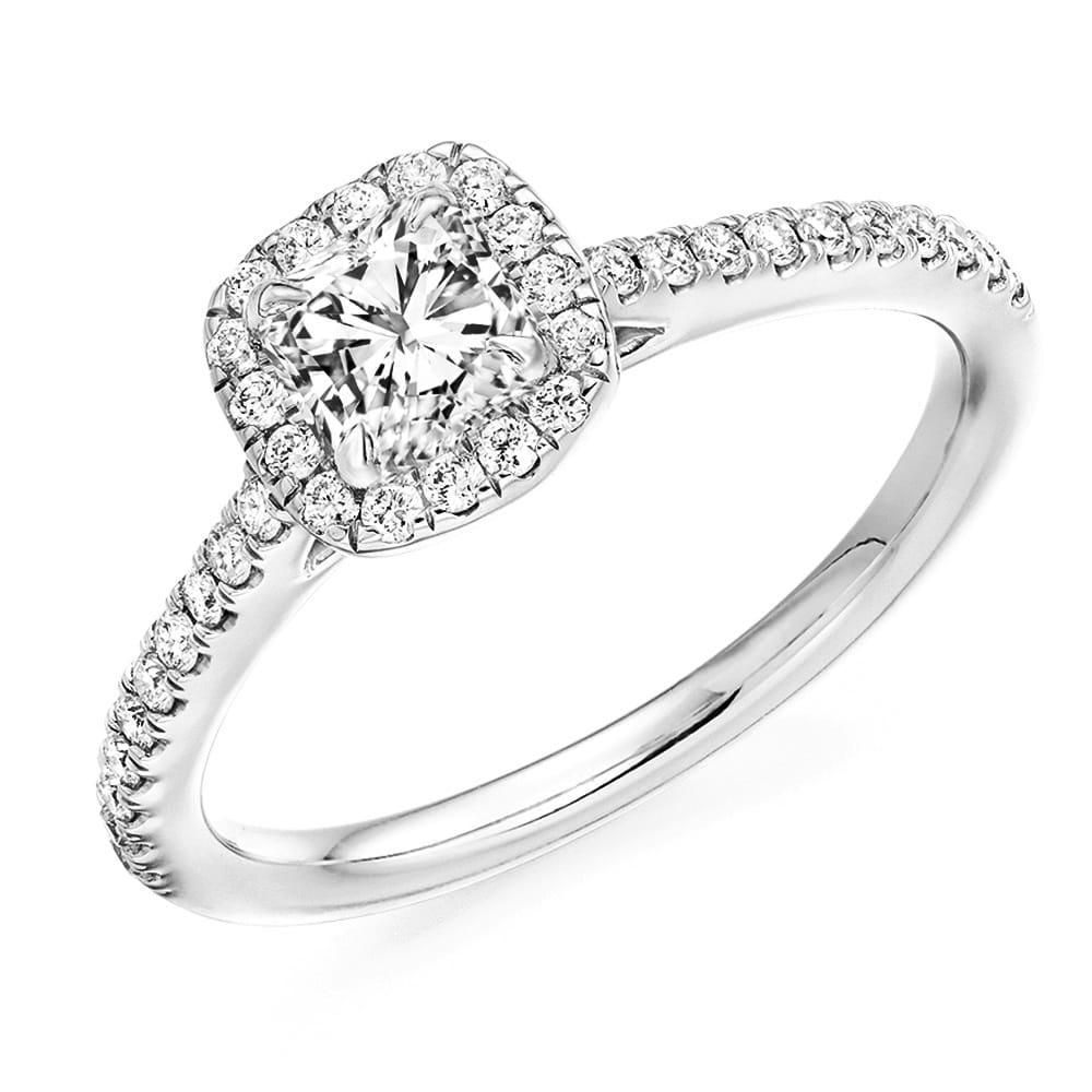 Platinum Engagement Rings Sale Uk: Platinum Cushion Cut Diamond With Diamond Set Surround