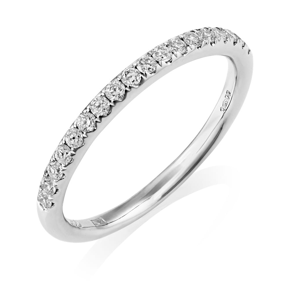 Cluster Bands: Platinum Set GIA Diamond Cluster Ring And Matching Wedding