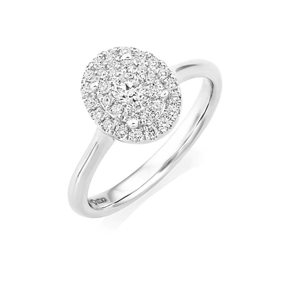 Platinum Set Diamond Oval Shape Halo Cluster Ring From