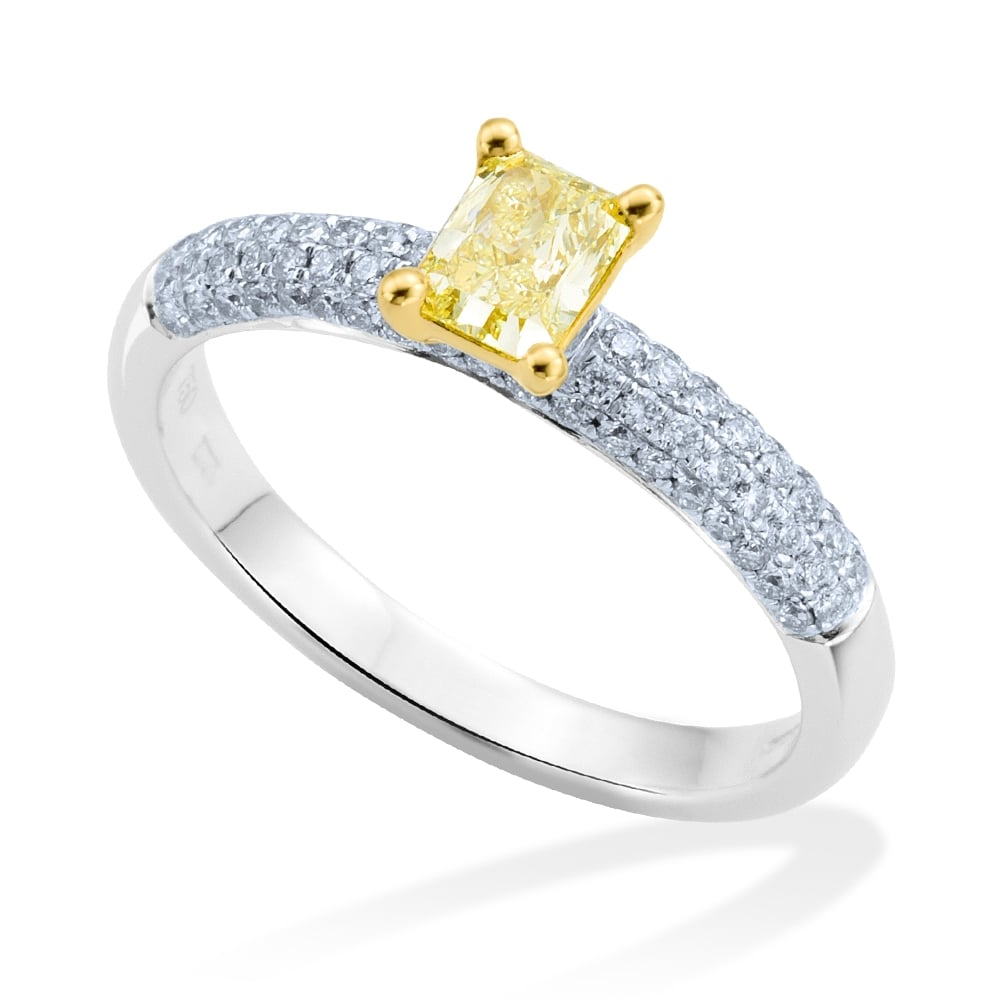 Platinum Yellow Diamond & Pave Set Diamond Shoulders