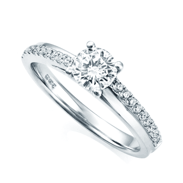 Platinum Set Round Brilliant Cut and Diamond Half Band Diamond Ring