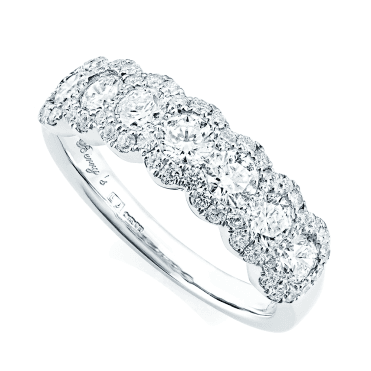 Platinum Seven-Stone Brilliant Cut Diamond Half Eternity Ring