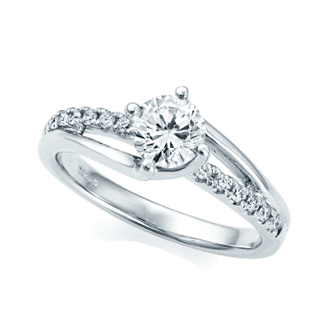 Platinum Single Stone Claw Set Twisted Split Diamond Shank Ring