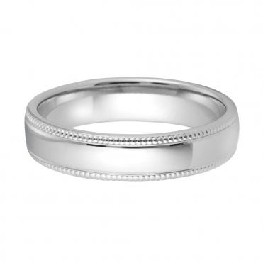 Platinum Slight Court 5mm Polished Beaded Edged Wedding Ring
