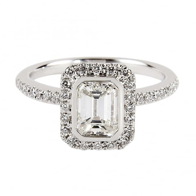 Platinum Solitaire Emerald Cut Diamond Engagement Ring 1358 V DR P