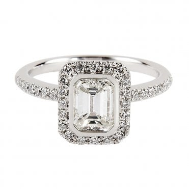 Berry's Platinum Solitaire Emerald Cut Diamond Engagement Ring
