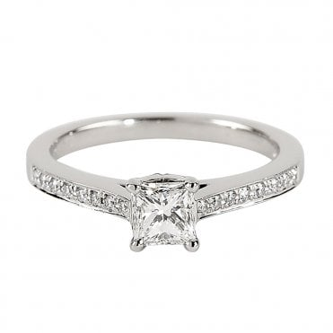 Platinum Solitaire Princess Cut Diamond Engagement Ring GIA Certified