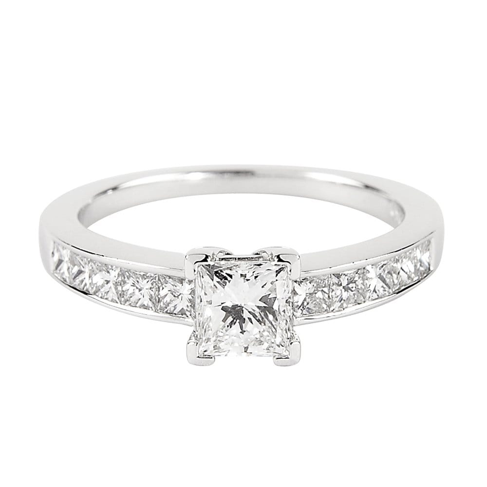 Platinum Solitaire Princess Cut Gia Certified Diamond Engagement Ring