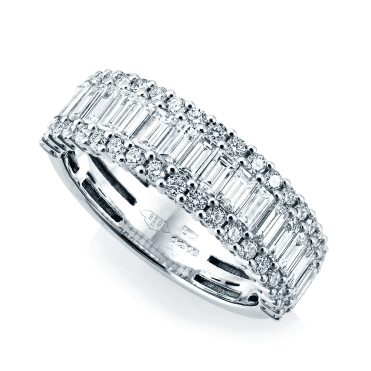 Platinum Three Row Baguette & Brilliant Cut Claw Set Diamond Eternity Ring