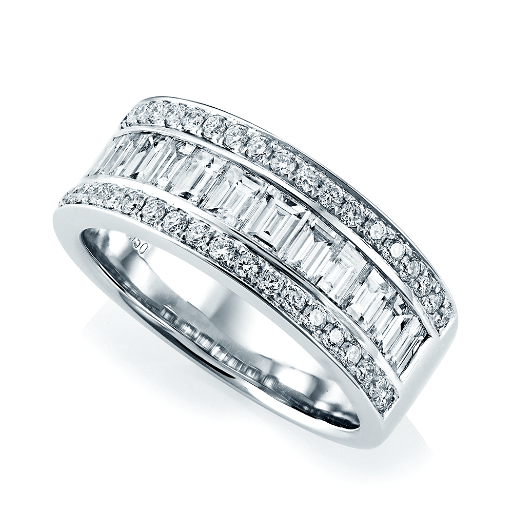 white diamond tapered tilt baguette eternity wedding set bands gold channel band
