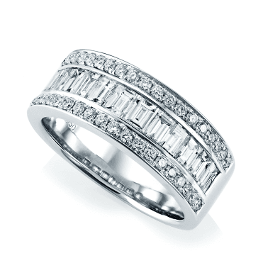 Platinum Three Row Baguette & Brilliant Cut Diamond Eternity Ring