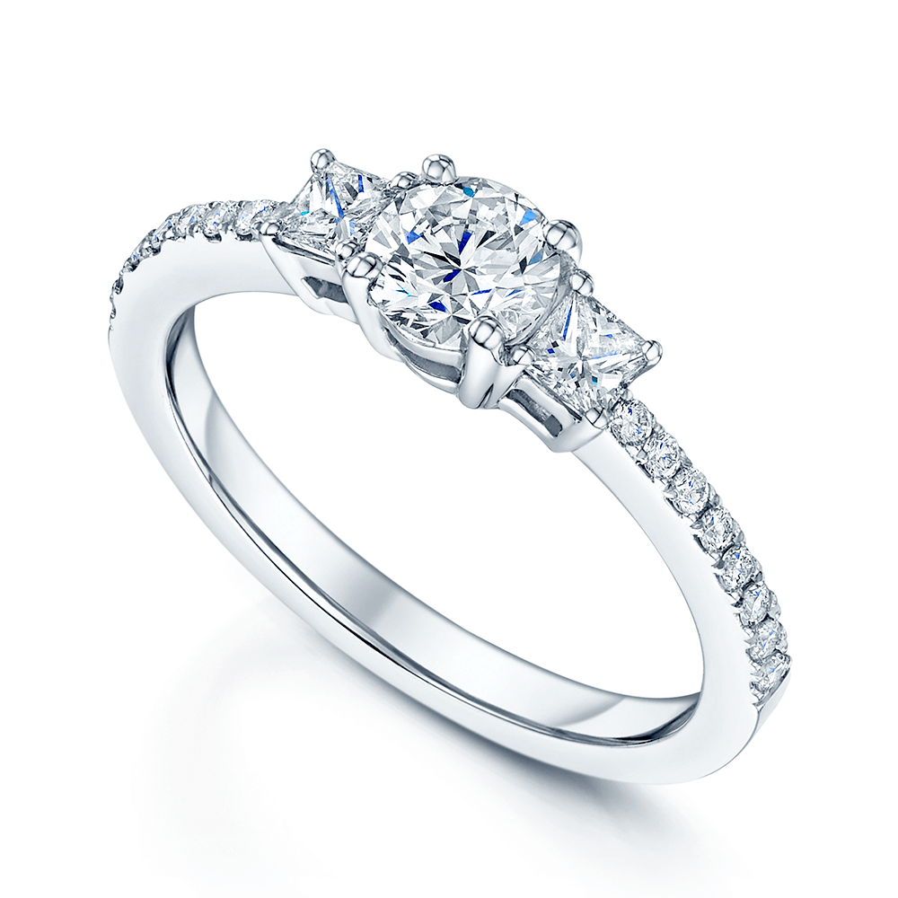 Platinum Engagement Rings Sale Uk: Platinum Three Stone Brilliant & Princess Cut Diamond