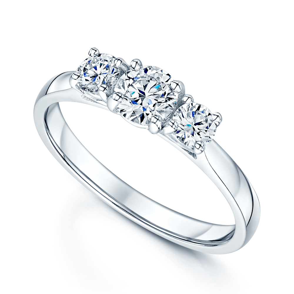 Engagement Ring Memorial Day Sale: Berry's Platinum GIA Certified Three Stone Diamond Trilogy