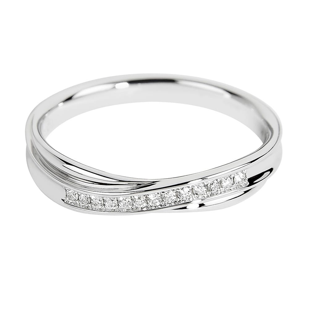 18ct White Gold Twist Design Channel Set Diamond Wedding Ring