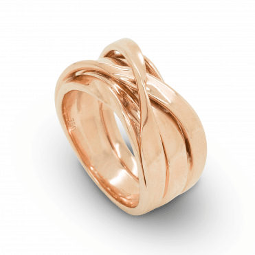 Polished 18ct Rose Gold Multi-strand Cross Over Style Dress Ring